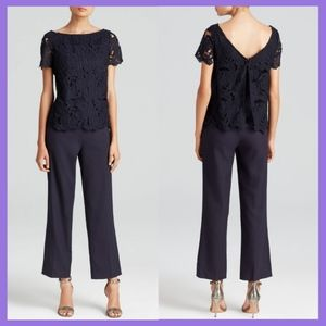 NWT $495 Tory Burch Lace Bodice Jumpsuit Navy 12